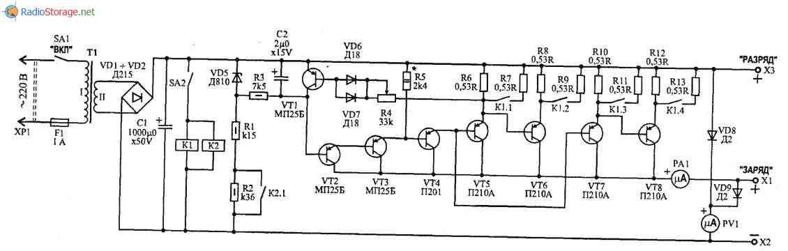Устройство для заряда и формирования аккумуляторных батарей 6-12В, 85Ач, схема