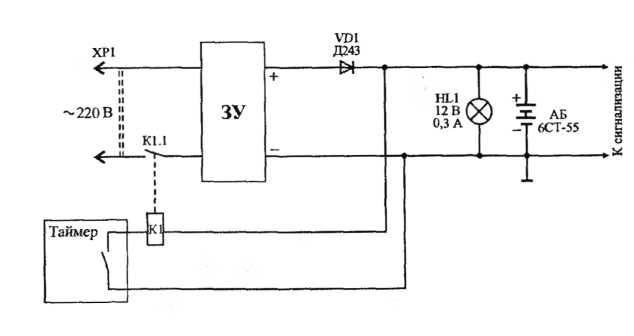 Подключение таймера к зарядному устройству аварийного аккумулятора, схема