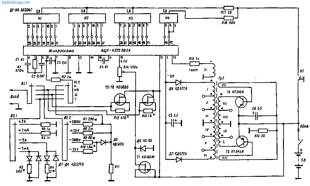 Схема малогабаритного цифрового мультиметра (тестер)