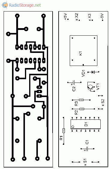 Печатная плата для простого таймера к вентилятору