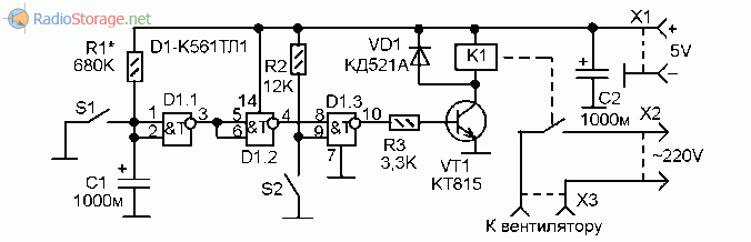 Принципиальная схема простого таймера для вентилятора