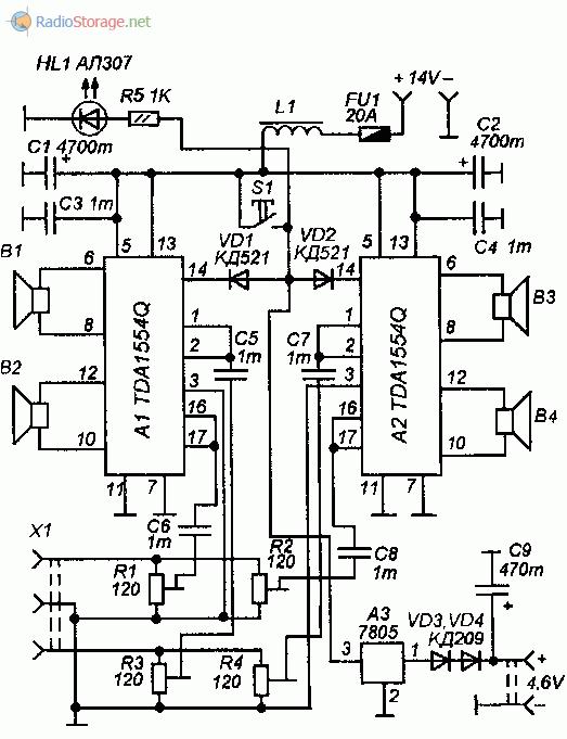 Принципиальная схема автомобильного усилителя мощности на микросхемах TDA1554Q