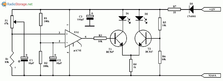 Сигнализатор снижения температуры (гололеда на шоссе), схема