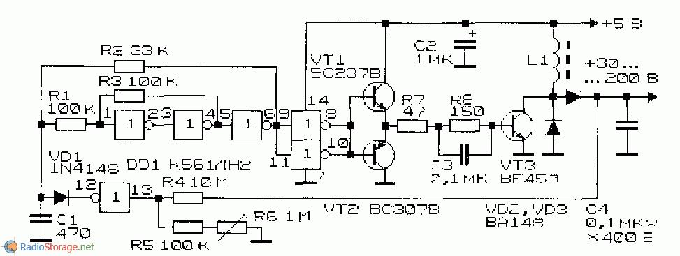Преобразователь напряжения с индуктивным накопителем энергии принципиальная схема