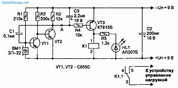 Схема чувствительного акустического датчика на транзисторах