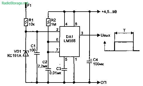 Сенсорный датчик - переключатель на LM555