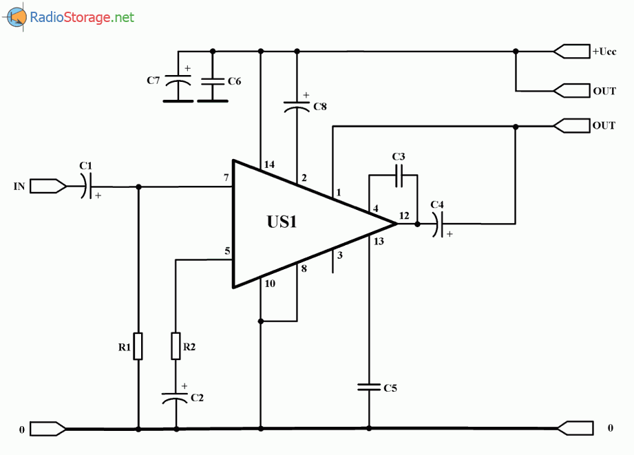 Простой УНЧ на микросхеме UL1482K (2 Вт), схема