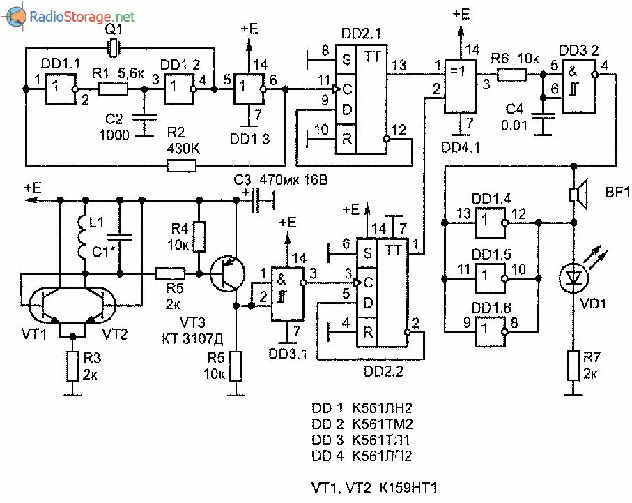 Принципиальная схема кварцованного металлоискателя на биениях