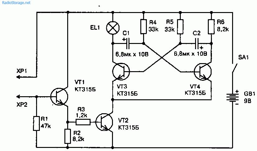 Схема пробника цепей со световой (мыгающей) сигнализацией