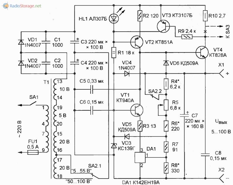 Лабораторный блок питания с регулируемым напряжением от 5 до 100В (0,2А), схема