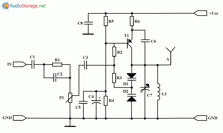 Миниатюрный FM радиопередатчик на одном транзисторе (66-73 МГц), схема