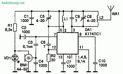 Схема радиомикрофона 88-200 МГцна микросхеме К174ПС1