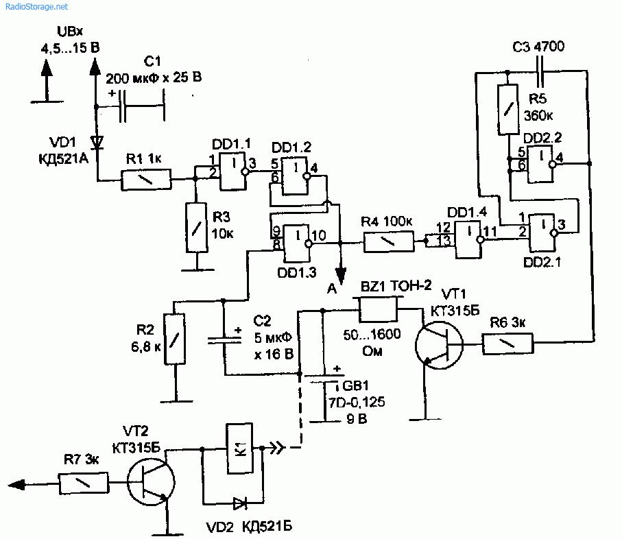 Звуковой сигнализатор пропадания сетевого напряжения