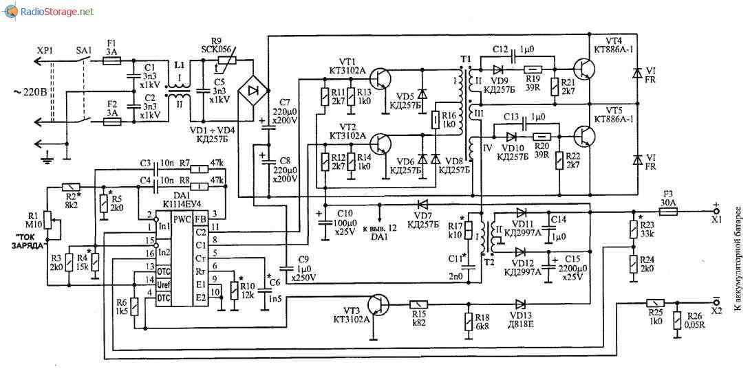 Зарядное устройство на основе импульсного инвертора (К1114ЕУ4, КТ886), схема