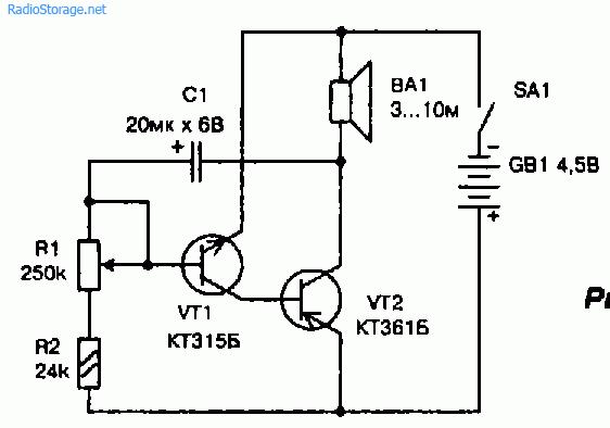 Схема электронного метронома на двух транзисторах (от 20 до 250 импульсов в минуту)