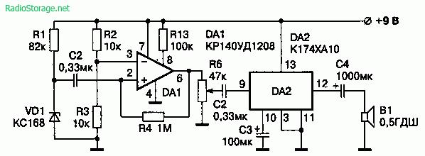 Схема генератора звукового шума на основе полупроводникового диода