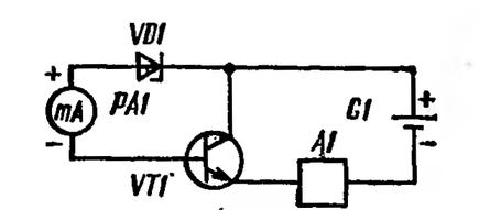 Схема измерения статического коэффициента передачи тока