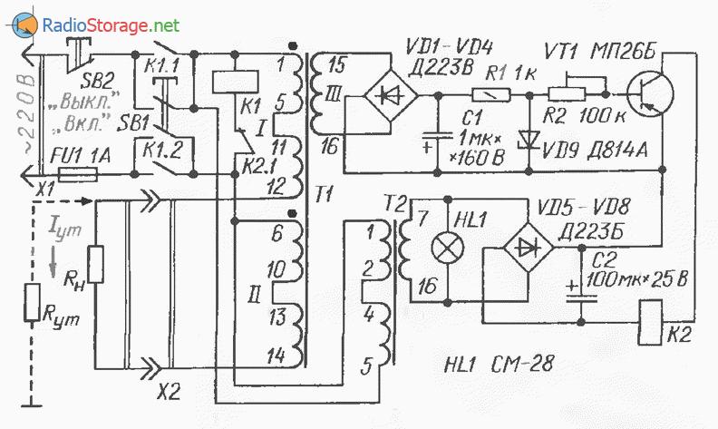 Простой автоматический выключатель нагрузки от сети 220В, схема