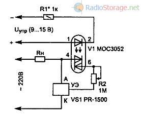 Схема управления фазовым регулятором мощности с опторазвязкой