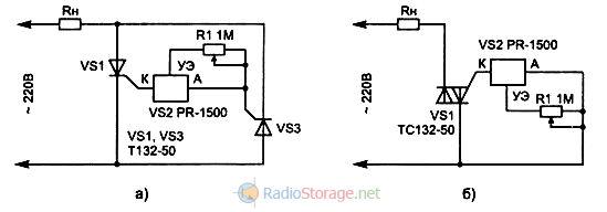 Схема подключения фазового регулятора мощности к тиристору и симистору