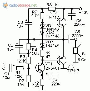 Принципиальная схема УНЧ на транзисторах TIP112, TIP117 с выходной мощностью 20Вт
