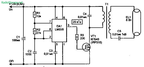Преобразователь для маломощной люминесцентной лампы (LM555)