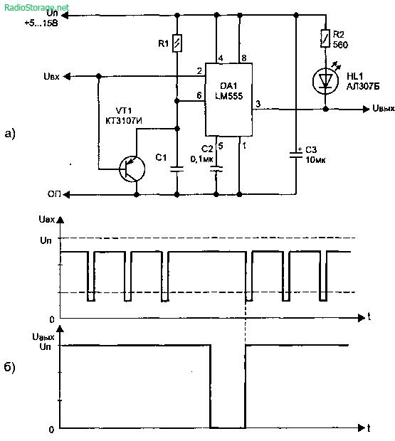 Схема индикатора пропадания импульсов (LM555)