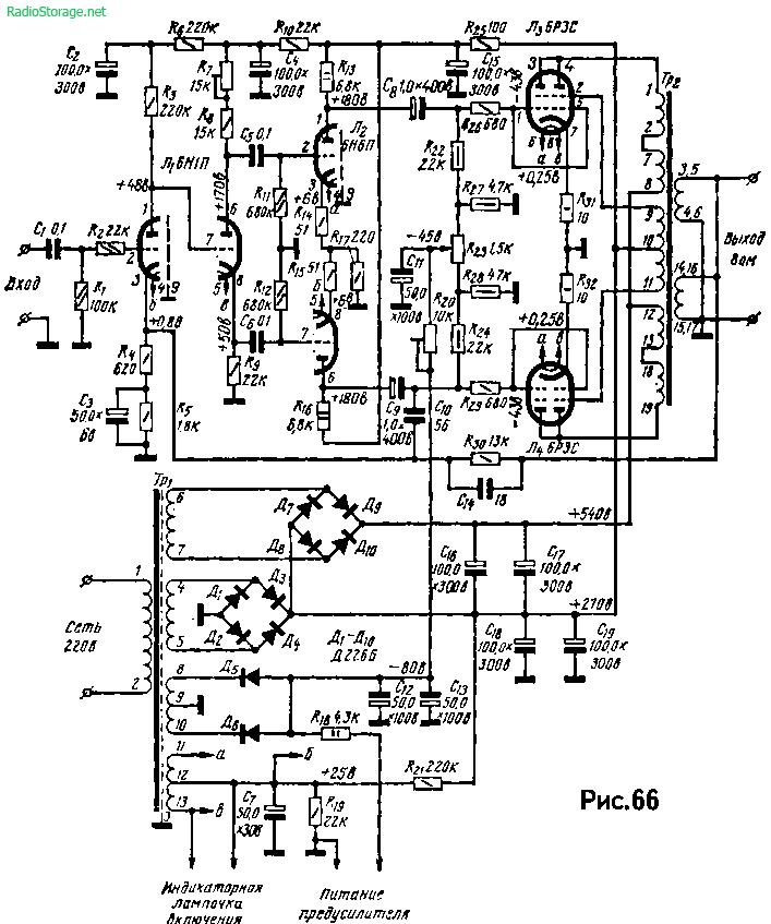 Схема мощного лампового усилителя на 6Н1П, 6Н6П, 6РЗС (100Вт на 8Ом)