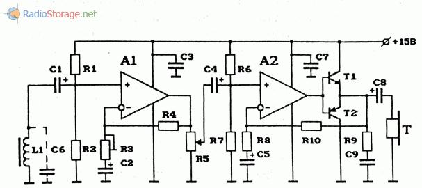 Схема усилителя бесконтактного съема информации с телефонной линии на 2 ОУ с регулировкой громкости