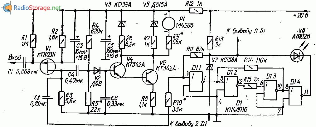 Bндикатор уровня записи со стрелочной и световой индикацией