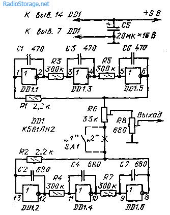 Двухтональный генератор на К561ЛН2