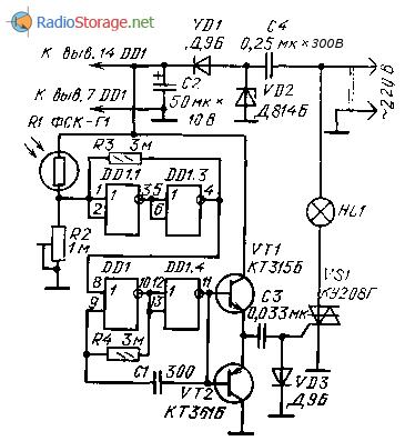 Схема автомата-выключателя освещения на микросхеме и симисторе
