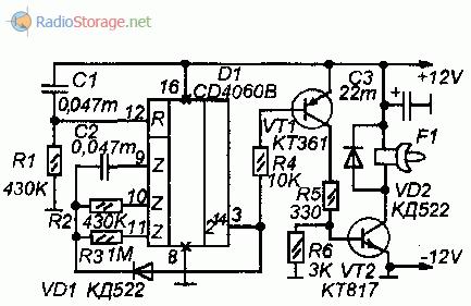 Таймер для ограничения времени работы устройств (CD4060B), схема
