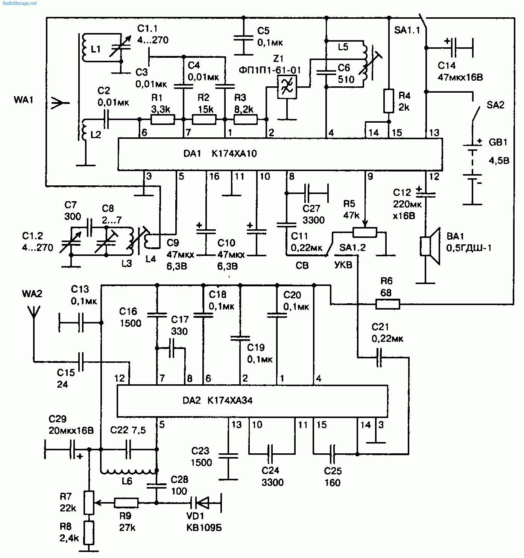 Схема простого СВ(525...1605 кГц)-УКВ(87,5...108 МГц) приемника (K174XA10, K174XA34)