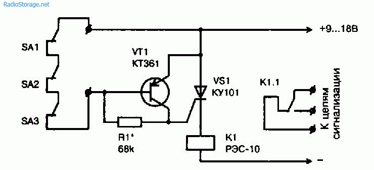 Схема простого охранного устройства с контактными датчиками