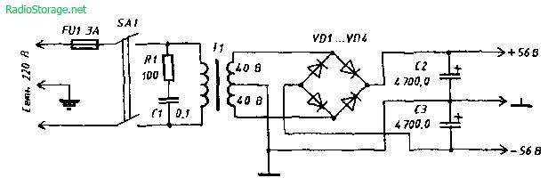 Схема 300 Вт усилителя для сабвуфера с индикатором перегрузок