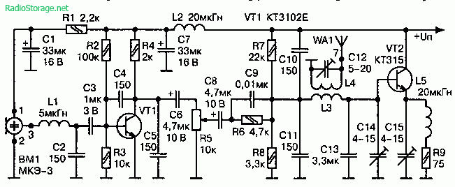 Радиомикрофон с генератором работающим по принципу емкостной трехточки (88—108 МГц, 0,5—0,6 км)