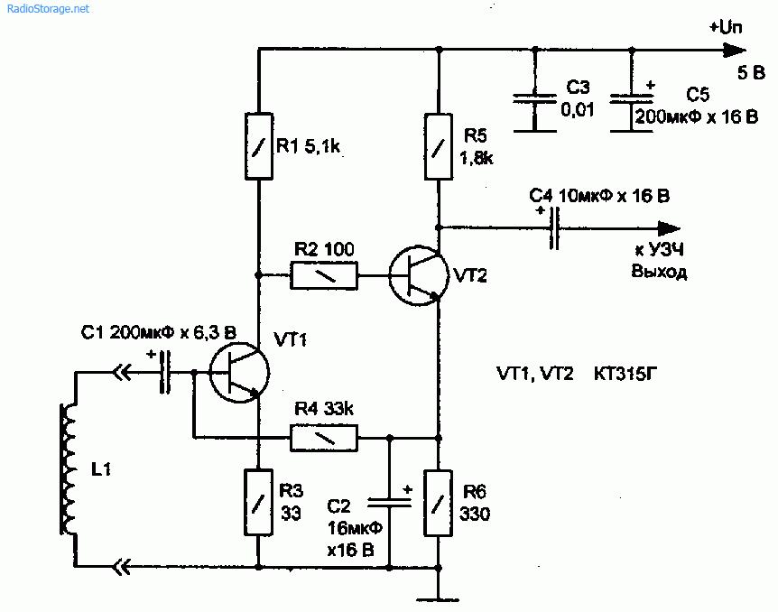 Схема адаптера для съема сигнала с телефонной линии