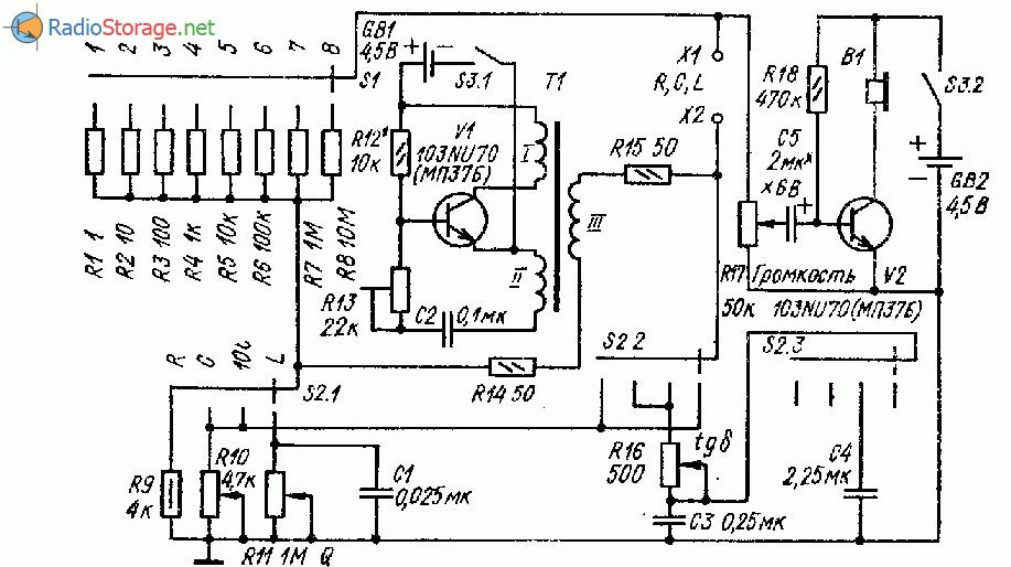 Широкодиапазонный измеритель RCL на двух транзисторах