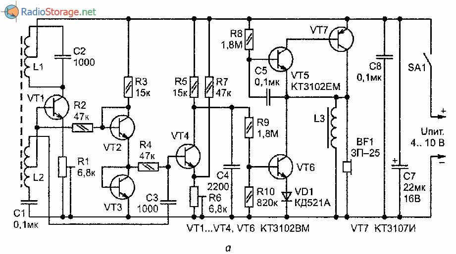 Принципиальная схема простого самодельного металлоискатела на транзисторах