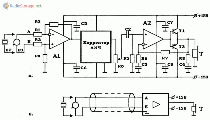 Схема простого УНЧ с высоким входным сопротивлением