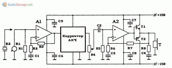 Схема простого УНЧ с высоким входным сопротивлением, двухполярным источником питания и корректором АЧХ