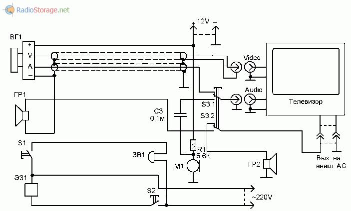 Схема самодельного домофона на основе телевизора