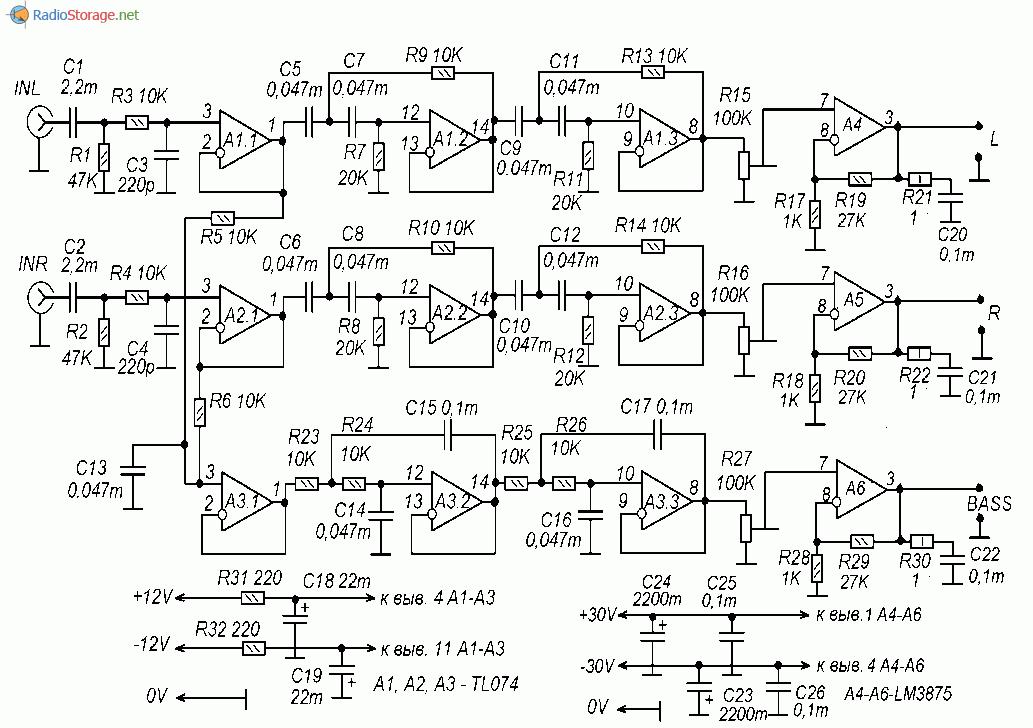 Принципиальная схема трехканального усилителя мощности, стерео и сабвуфер на микросхемах TL074, LM3875