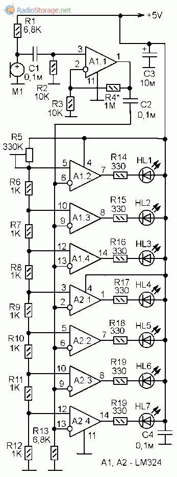Принципиальная схема шумомера на светодиодах и ОУ LM324