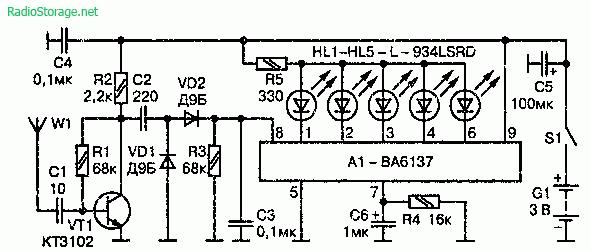 Индикатор напряженности поляна микросхеме BA6137