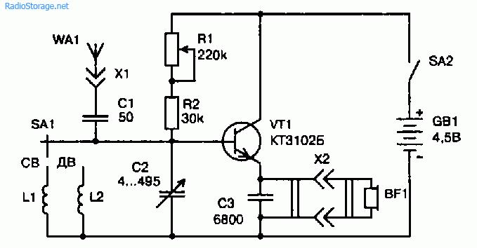 Схема простого однотранзисторного приемника на диапазоны СВ и ДВ