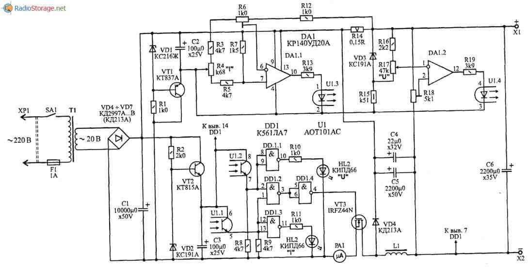 Регулируемый импульсный стабилизатор напряжения с ограничением по току (2-25В, 0-5А), схема