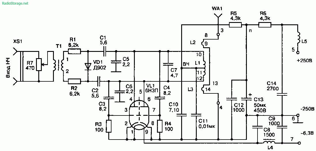 УКВ-передатчик для небольших зон радиовещания на лампе 6Н3П