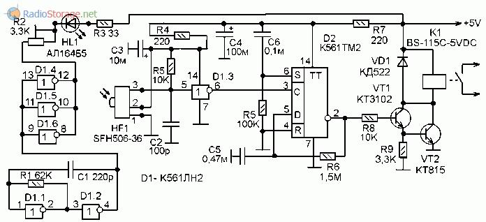 Принципиальная схема выключателя нагрузок с оптическим ИК управлением